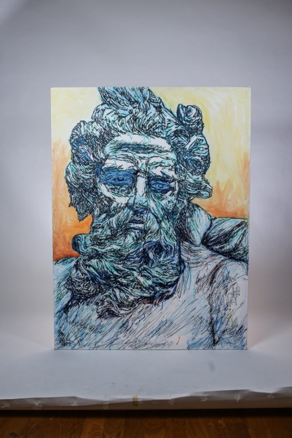 Poseidon painted by David Brookton in Sharpie and Watercolor