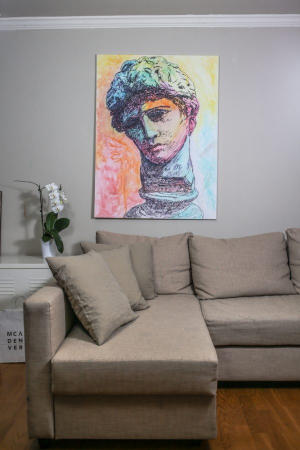 SOLD Adonis painted by David Brookton in Sharpie and Watercolor