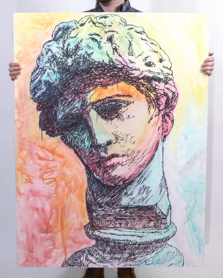 Adonis painted by David Brookton in Sharpie and Watercolor